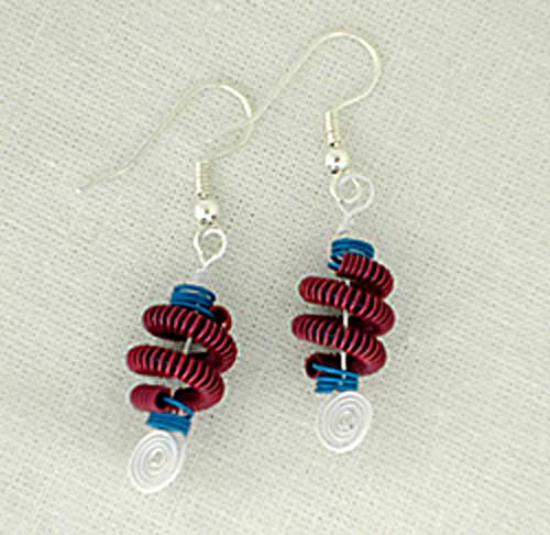 Patriotic Coiled Wire Earrings