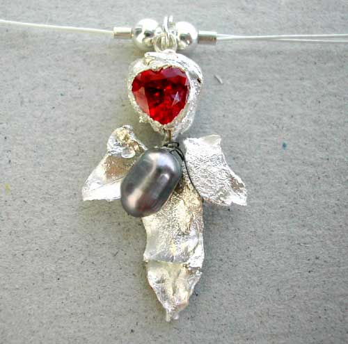 Silver PMC Pendant: Heart of the Rose