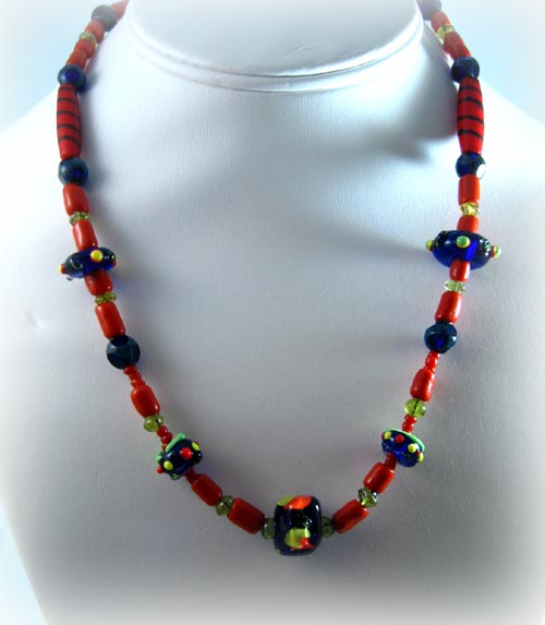 Summertime Coral & Cobalt Necklace