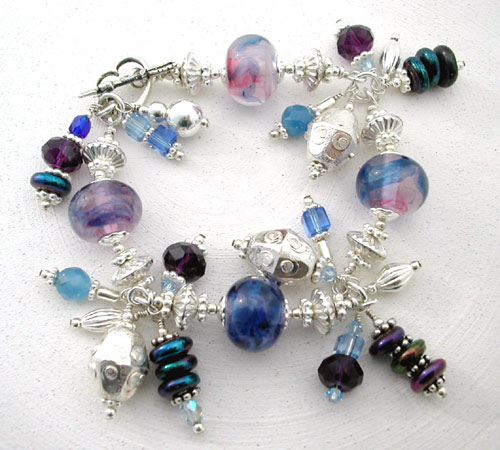 Silver Blue Lampwork Dangle Bracelet