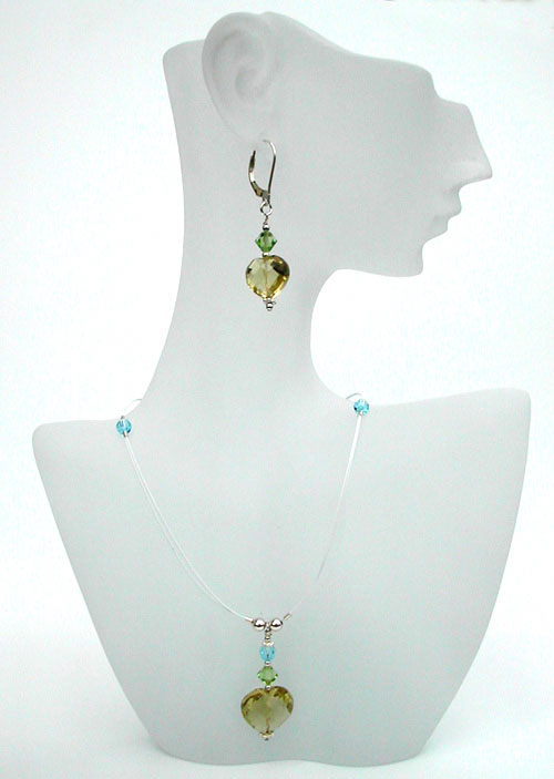 Lemon Topaz Hearts & Crystals Necklace
