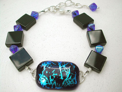 Blue on Black Dichroic Glass & Onyx Bracelet