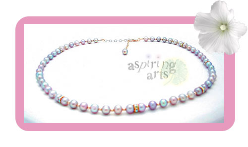 Pink Pearls, Gold & Crystal Choker