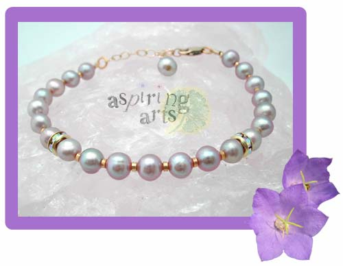 Pink Pearls,  Gold & Crystal Bracelet