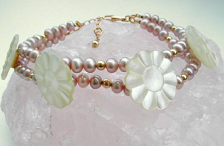 Pink Pearls & Vintage Button Bracelet